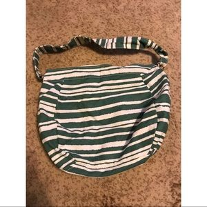 Green and White Striped HangBag